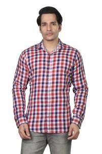 meraki Men's Checkered Casual Ribbed Collar Shirt