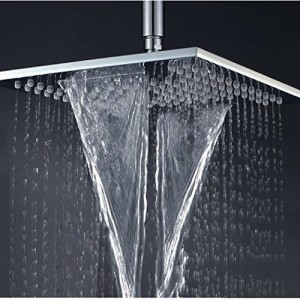 3G DECOR Rainfall & Waterfall Square 12 inch Bathroom Rainfall Shower Head Brass thicker Wall Mounted Shower Chrome with 24 inch shower rod Shower Head