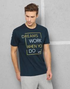 Metronaut Printed Men's Round Neck Dark Blue T-Shirt