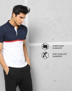 182e7012e4a1c3 Metronaut Athleisure Solid Men s Polo Neck White Dark Blue T Shirt ...
