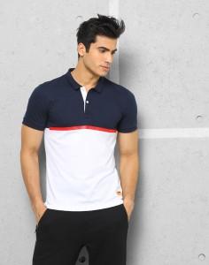 5c07353000b027 Metronaut Athleisure Solid Men s Polo Neck White Dark Blue T-Shirt Price  List