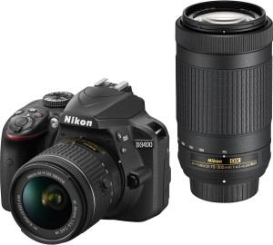 Nikon DSLR D3400 DSLR Camera Body with Dual Lens: AF-P DX NIKKOR 18-55 mm f/3.5 - 5.6G VR + AF-P DX NIKKOR 70-300 mm f/4.5 - 6.3G ED VR (16 GB SD Card +DSLR Camera Bag)