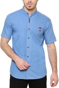 Kuons Avenue Men's Solid Casual Mandarin Shirt