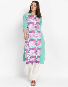 Anmi Women's Animal Print Straight Kurta