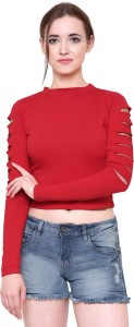 Marzeni Casual Cutout Sleeve Solid Women's Red Top
