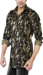 No Limit Men's Military Camouflage Casual Multicolor Shirt