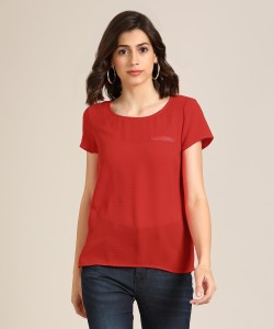 Vero Moda Casual Short Sleeve Solid Women's Red Top