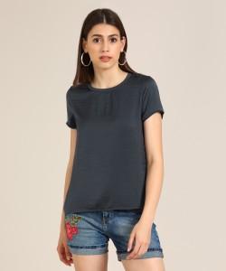 Vero Moda Casual Half Sleeve Solid Women's Grey Top