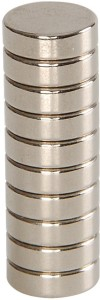 ART IFACT 10 Pieces of 10mm x 3mm Neodymium Magnets - N52 Disc / Cylindrical magnets - Rare Earth NdfeB Multipurpose Office Magnets Pack of 10