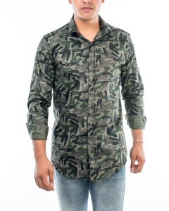 No Limit Men Military Camouflage Casual Green Shirt
