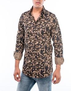 U TURN Men's Military Camouflage Casual Brown Shirt