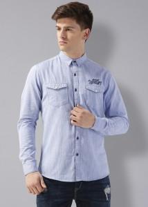 Rodid Men's Solid Casual Spread Shirt