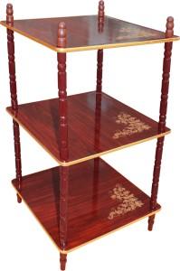 Flipzon Side Shelve Corner Table Wooden Wall Shelf - 3 Shelve Wooden Wall Shelf