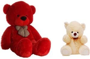 Arvel 3 feet red and cream 2 feet Jumbo teddy /high quality teddy / valentine teddy / anniversary gift teddy/ teddy for girlfriend  - 86.10 cm