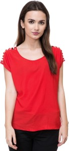 DEEWA Casual Short Sleeve Solid Women's Red Top