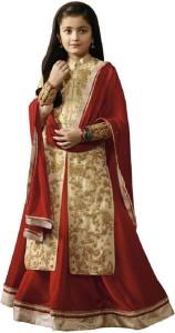 fd177c1c00 NAJARA FASHION Girls Lehenga Choli Ethnic Wear Embroidered Lehenga, Choli  and Dupatta Set