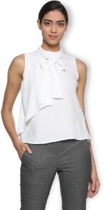 Van Heusen Casual Sleeveless Solid Women's White Top