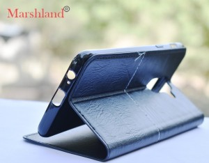 new york df666 fd24a Marshland Flip Cover for Samsung Galaxy A6 Plus leather Genuine Leather  Case Slim Flip Cases [Black]Black, Dual Protection, Artificial Leather