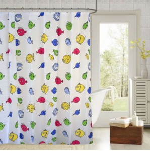 Draperi PVC Shower Curtain 180 (6 Ft) Single Curtain ( Printed Multicolor )