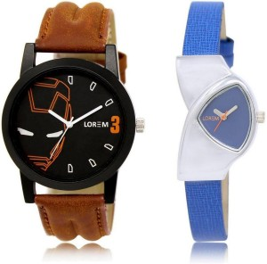 LOREM LR4-208 Stylish Blue & Black Triangle & Round Boy's & Girl's Leather Watch  - For Men & Women