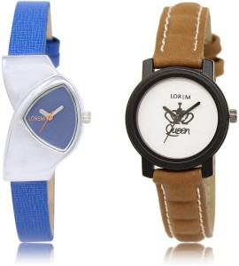 LOREM LK-208-209 COMBO White & Blue Round & Triangle Girl's Leather Watch  - For Women