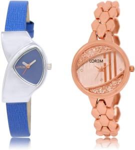 LOREM LR208-222 Stylish Rose Gold & Blue Round & Triangle Girl's Metal Bracelet & Leather Watch  - For Women