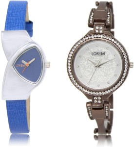 LOREM LR208-236 Stylish Silver & Blue Round & Triangle Girl's Metal Bracelet & Leather Watch  - For Women
