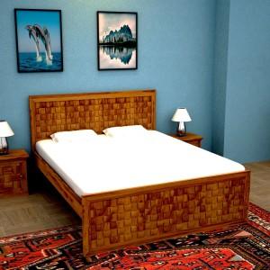 515cb09f63 Home Edge Weave Sheesham Solid Wood King Bed Finish Color Teak ...