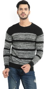 Pepe Jeans Striped Round Neck Casual Men's Black, Grey Sweater