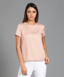 Vero Moda Casual Half Sleeve Solid Women's Pink Top