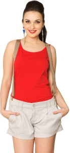 Miss Chase Casual Sleeveless Solid Women's Red Top