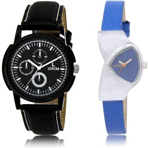 LOREM Watch-13-208 COMBO Blue & Black Triangle & Round Boy's & Girl's Leather Watch  - For Men & Women