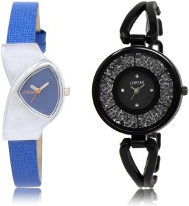 LOREM watch208-211 COMBO Black & Blue Round & Triangle Girl's Metal Bracelet & Leather Watch  - For Women