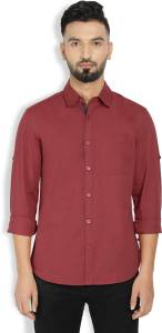 Billion PerfectFit Men's Solid Casual Maroon Shirt