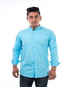 Jai Textiles Men's Solid Casual Light Blue Shirt