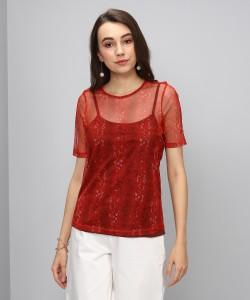 Vero Moda Casual Half Sleeve Printed Women's Maroon Top