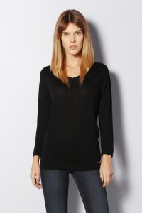 Van Heusen Casual Full Sleeve Solid Women's Black Top