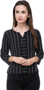 DEEWA Casual 3/4th Sleeve Striped Women's Black Top