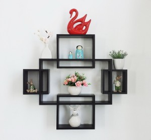 DriftingWood Wooden Intersecting Wall Shelves/Shelf for Living Room | Set of 5 | Black Wooden Wall Shelf