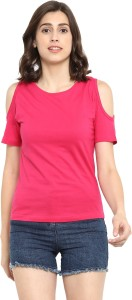 Ap'pulse Solid Women's Round Neck Pink T-Shirt