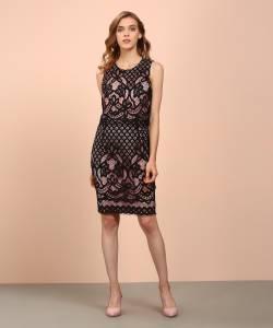 Allen Solly Women's Sheath Black, Pink Dress