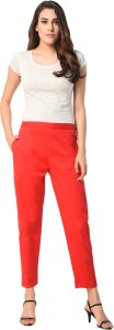 PAMO Regular Fit Women Red Trousers