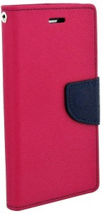 Avzax Flip Cover for Lava X19 8Gb Pink, Dual Protection, Artificial Leather