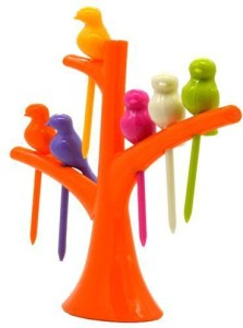 LS Letsshop Tree Birds Shaped Plastic Fruit Fork Set 06 Plastic Fruit Fork