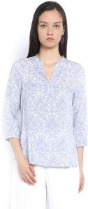 Van Heusen Casual 3/4th Sleeve Printed Women's Blue Top