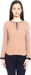 Van Heusen Casual Full Sleeve Solid Women's Beige Top