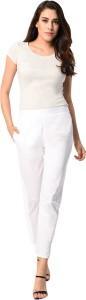 PAMO Regular Fit Women's White Trousers