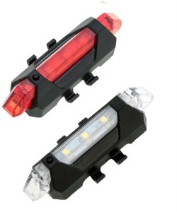 Shrih Bicycle LED USB Rechargeable Head Light and Tail Light LED Front Rear Light Combo
