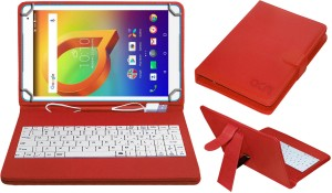 ACM Keyboard Case for Alcatel A3 10 10 inch Red, Cases with Holder, Artificial Leather