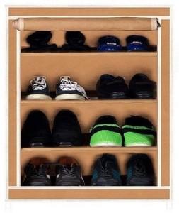 CMerchants CABINET BEIGE Metal Shoe Rack Beige, 4 Shelves